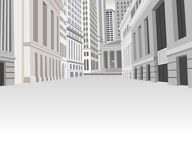 Straat van het financiële district van de binnenstad stock illustratie