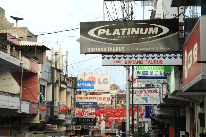 Straat van Manado stock fotografie
