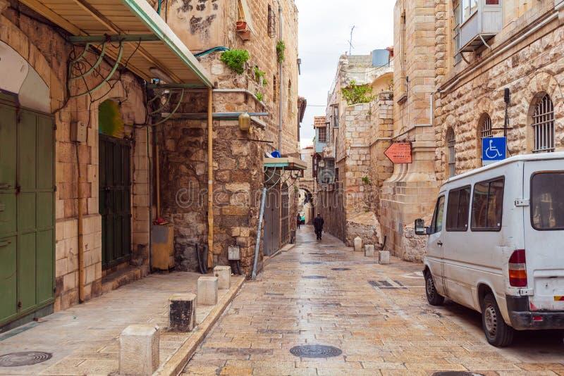 Straat van Moslimkwart dichtbij de Poort van Herod ` s, Jeruzalem stock foto's