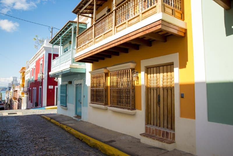 Straat van oud San juan in Puerto Rico stock foto's