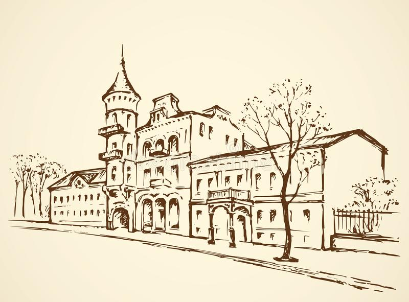 Straat van oude Stad Vector tekening