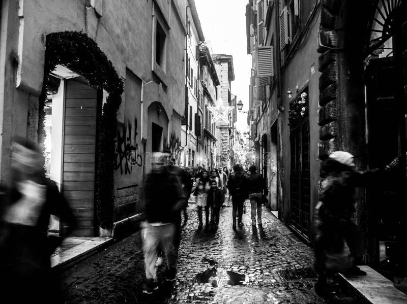 Straat van Rome, zwart-wit Italië, royalty-vrije stock afbeeldingen