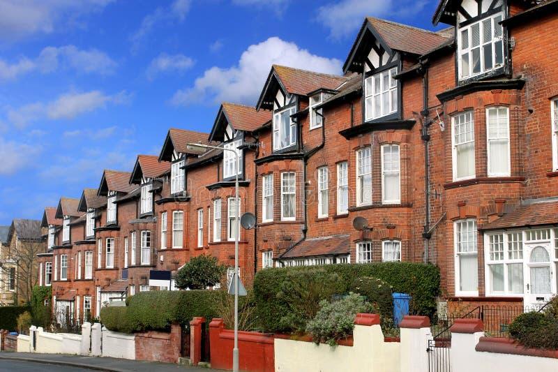 Straat van terrasvormige huizen royalty-vrije stock afbeelding