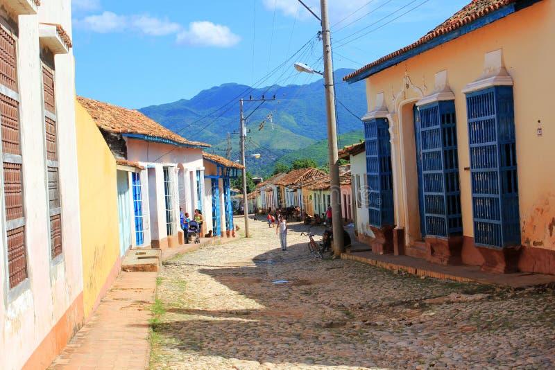 Straat van Trinidad, Cuba stock afbeelding