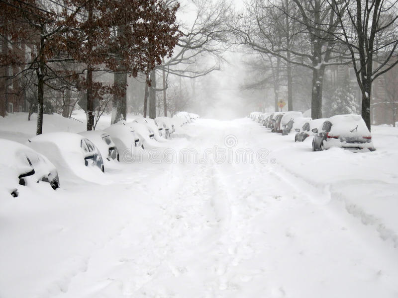 Straat in Washington During de Blizzard stock afbeelding