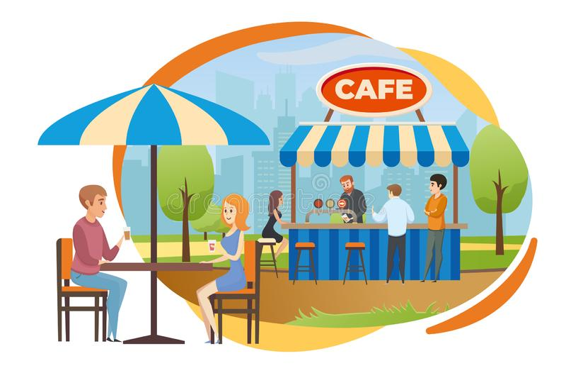 Straatbar of Snel Voedselkoffie in de Vector van het Stadspark royalty-vrije illustratie