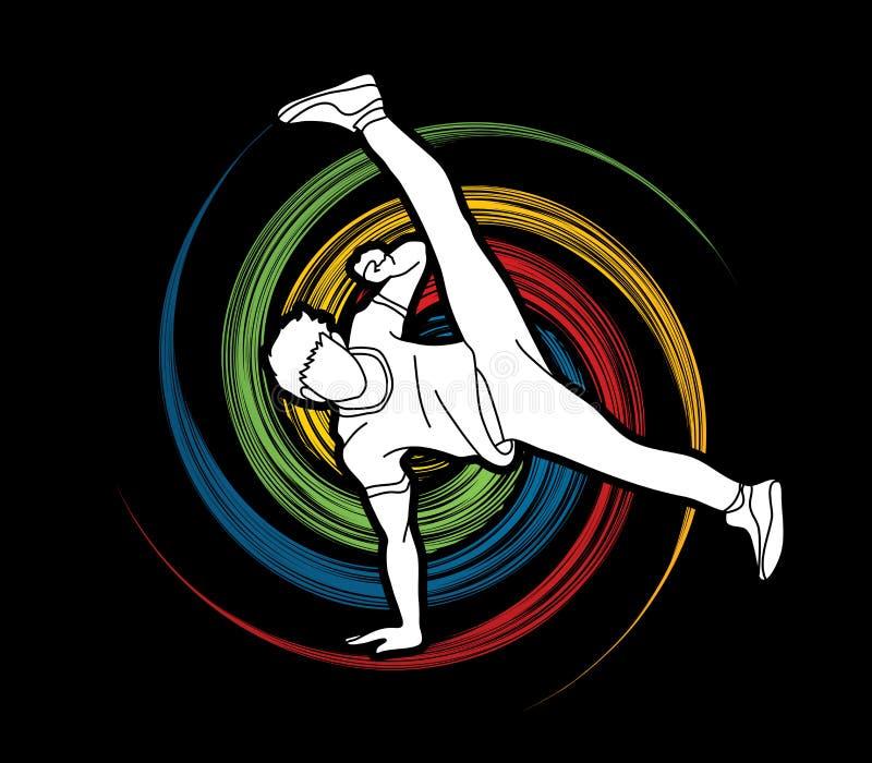 Straatdans, B-jongensdans, Hip Hop-het Dansen actie grafische vector royalty-vrije illustratie