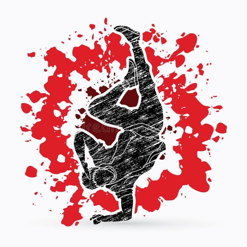 Straatdans, B-jongensdans, Hip Hop-het Dansen actie grafische vector stock illustratie