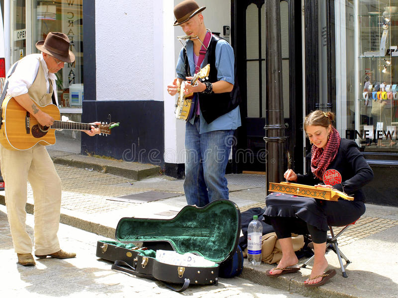 Straatentertainers, St.Ives, Cornwall stock foto's