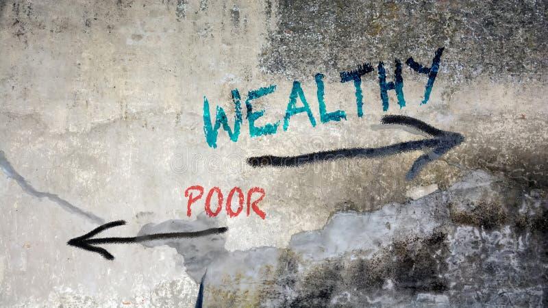 Straatgraffiti Rijk tegenover Armen royalty-vrije stock foto's