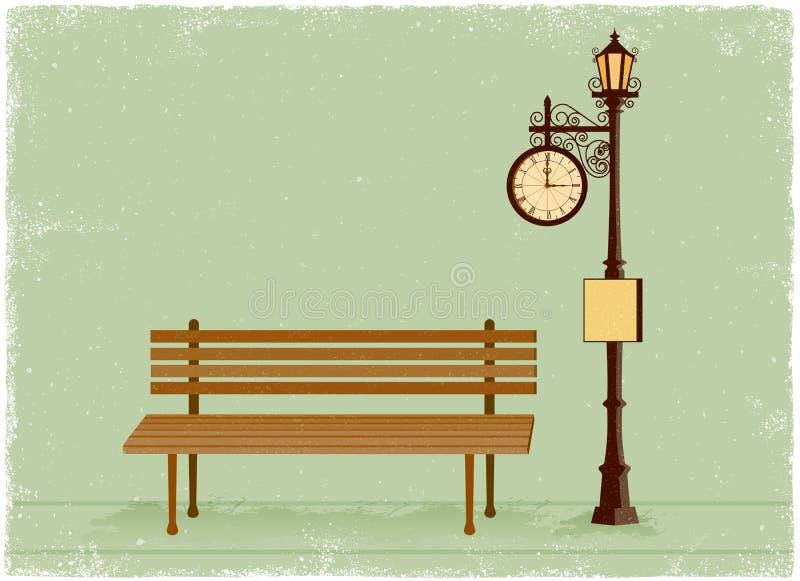 Straatklok en lamppost met parkbank stock illustratie