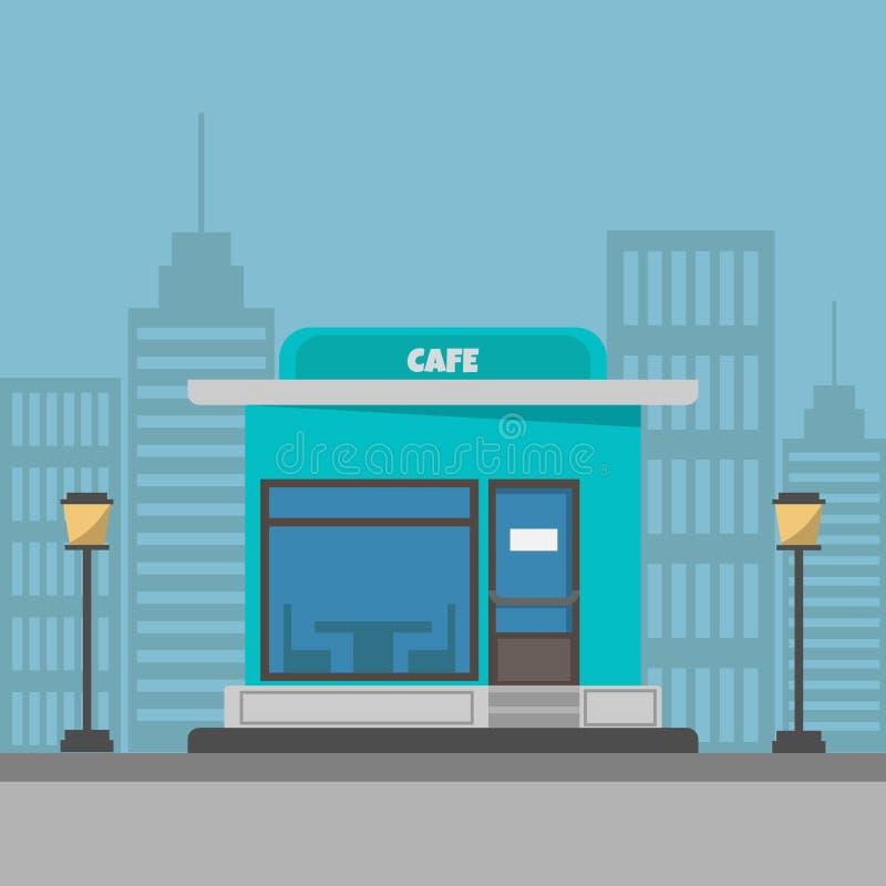 Straatkoffie die vectorillustratie bouwen Een koffie op een moderne achtergrond van de stadsstraat stock foto