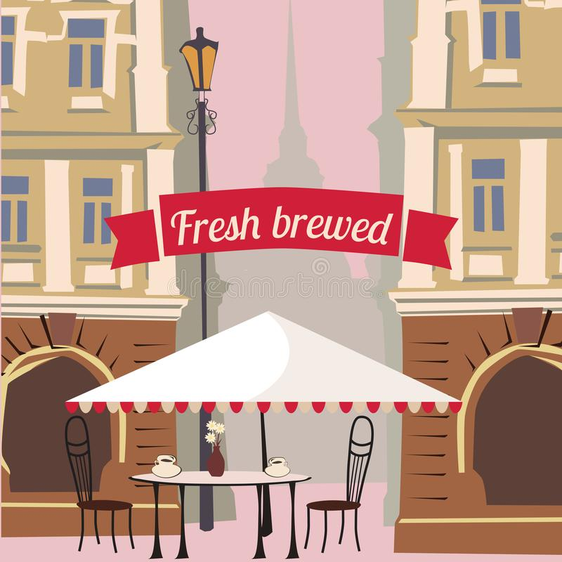 Straatkoffie, stad, architectuur, koffie, uitnodiging, banner, vectorillustratie royalty-vrije illustratie