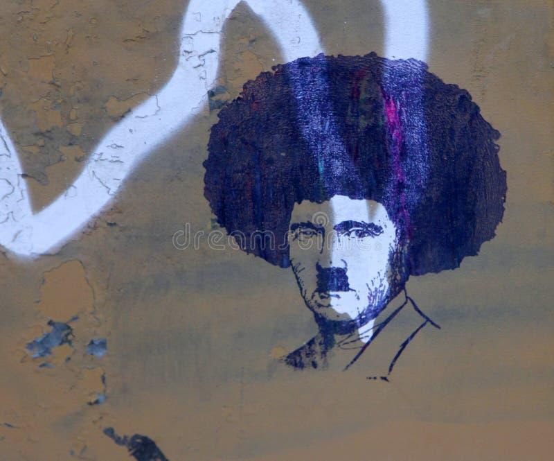 Straatkunst - Afro Hitler royalty-vrije stock afbeelding