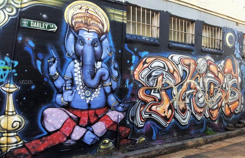 Straatkunst in Australië, Newtown in Sydney stock afbeeldingen