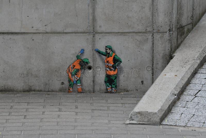 Straatkunst in Bialystok Polen stock afbeelding