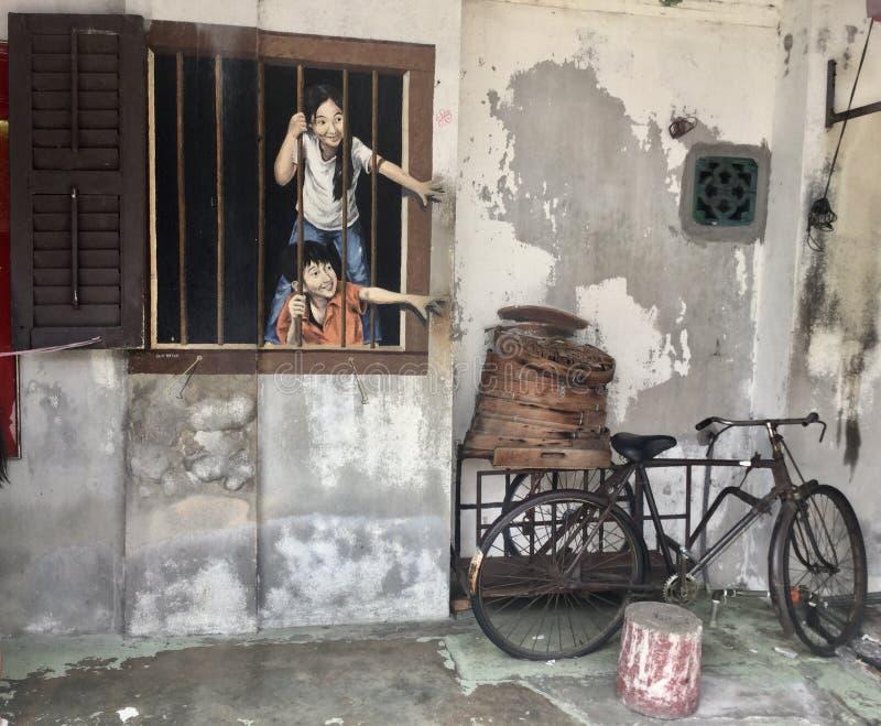 Straatkunst in Georgetown, Penang, Maleisië royalty-vrije stock foto's