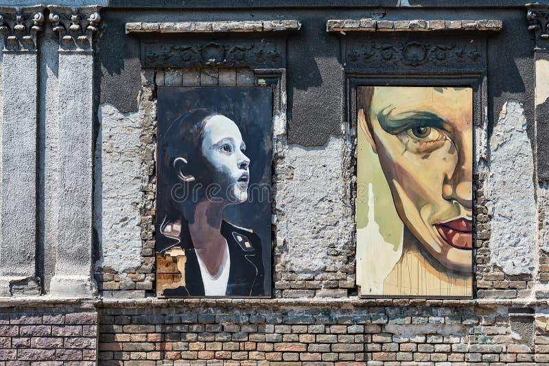 Straatkunst in Novi Sad, Servië royalty-vrije stock afbeelding