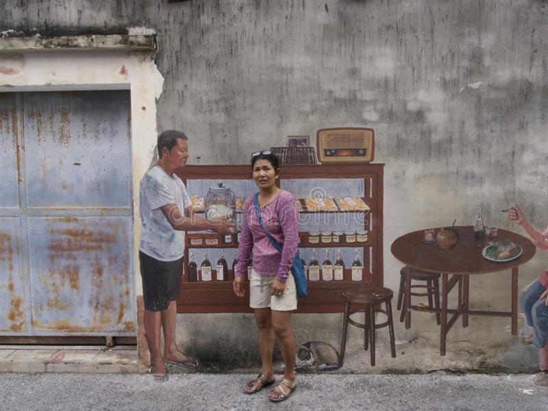 Straatkunst op Muur in Songkhla Thailand royalty-vrije stock foto's