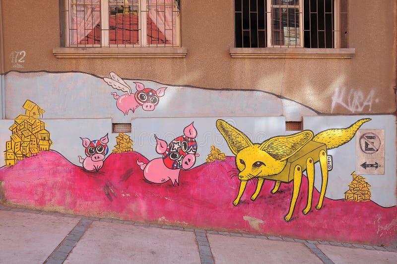 Straatkunst in Valparaiso stock afbeelding