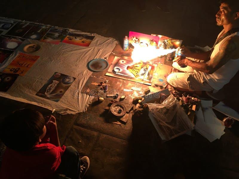 Straatkunstenaar in Merida, Mexico royalty-vrije stock foto's