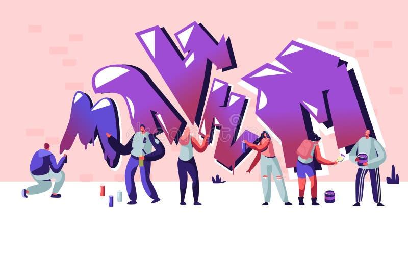 Straatkunstenaar Teenagers Painting Graffiti op Bakstenen muur Stedelijke Manier, Tienerlevensstijl, Activiteit van de Jongeren d royalty-vrije illustratie