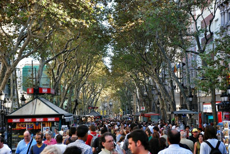 Straatla Rambla in Barcelona royalty-vrije stock foto