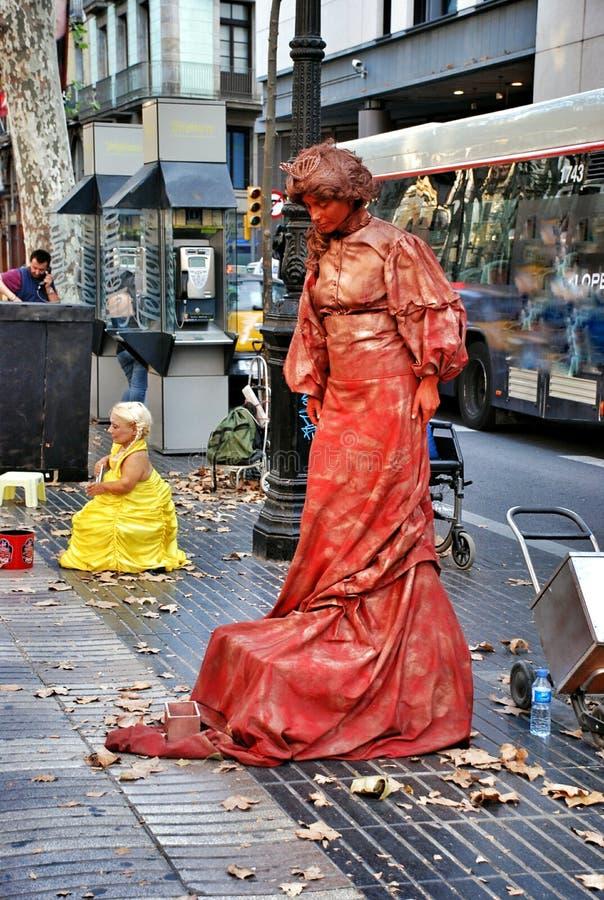 Straatla Rambla in Barcelona stock afbeeldingen