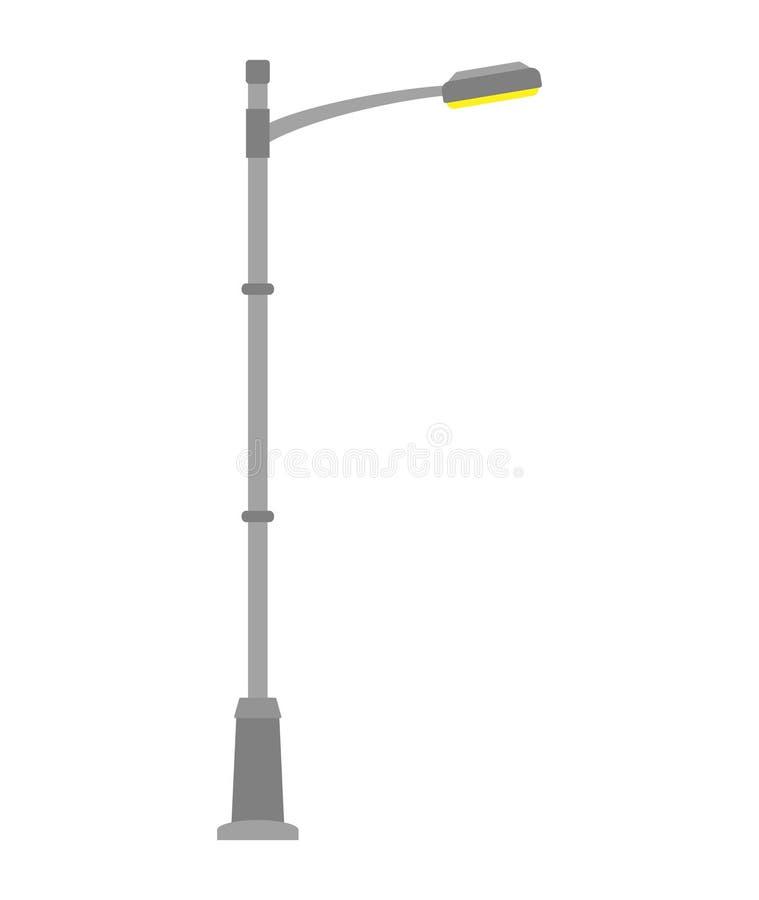 Straatlantaarn die op witte achtergrond wordt geïsoleerde Openluchtlamppost in vlakke stijl royalty-vrije illustratie