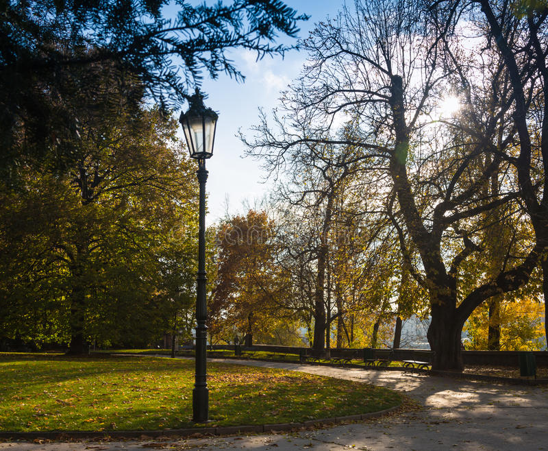 Straatlantaarn en de bank in het park royalty-vrije stock afbeelding