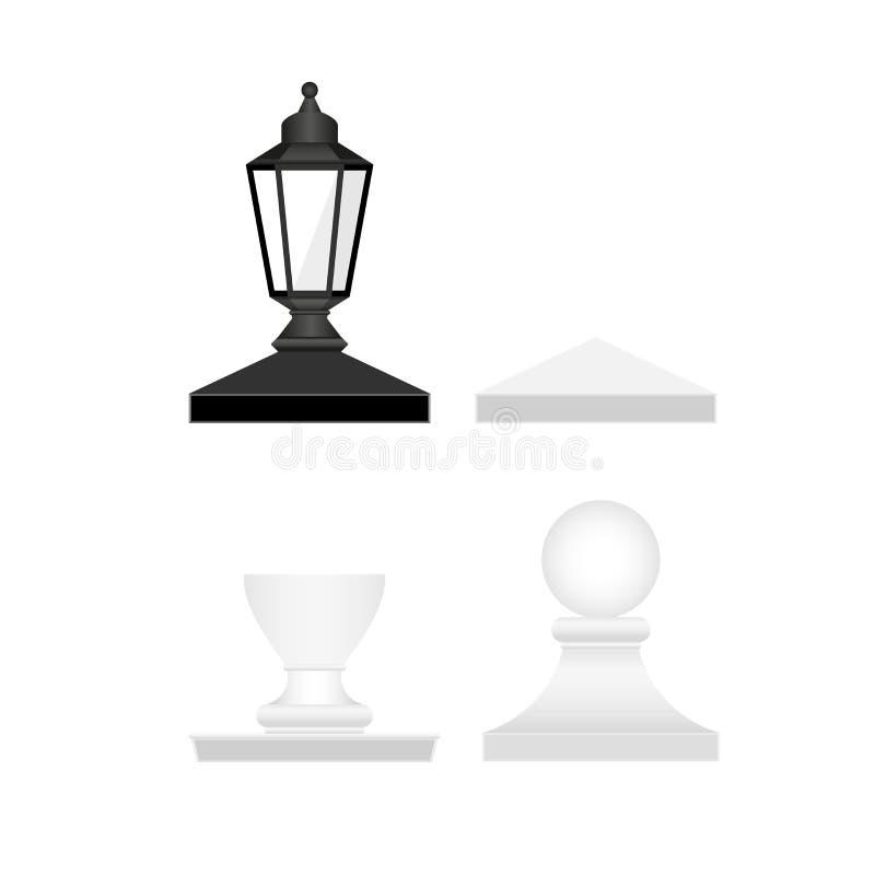 Straatlantaarn en Omheining Posts Tops VectordieOntwerpelementen voor u Ontwerp worden geplaatst stock illustratie