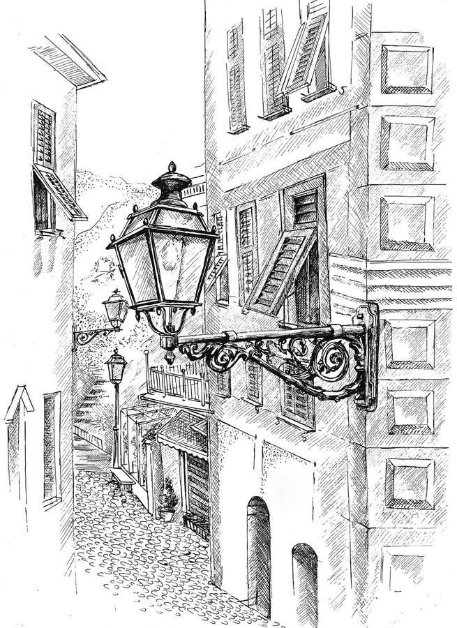Straatlantaarn van Camogli van de inktpen de grafische stock fotografie