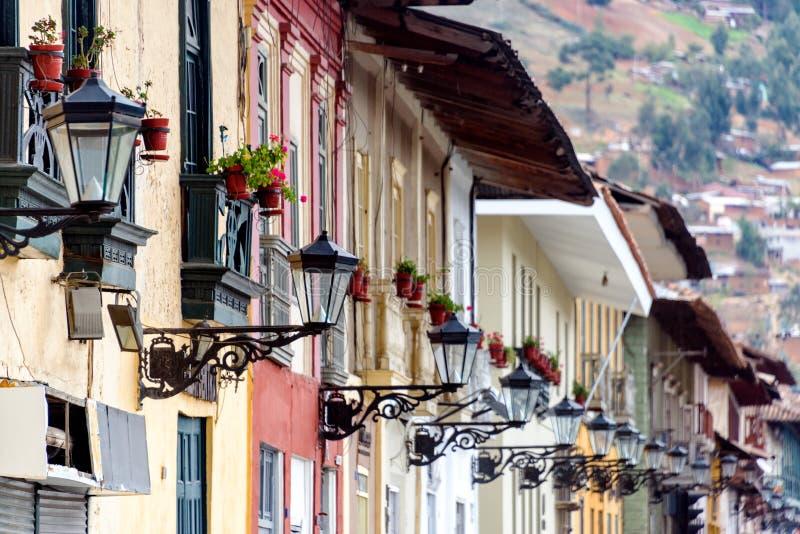 Straatlantaarns in Cajamarca, Peru stock fotografie