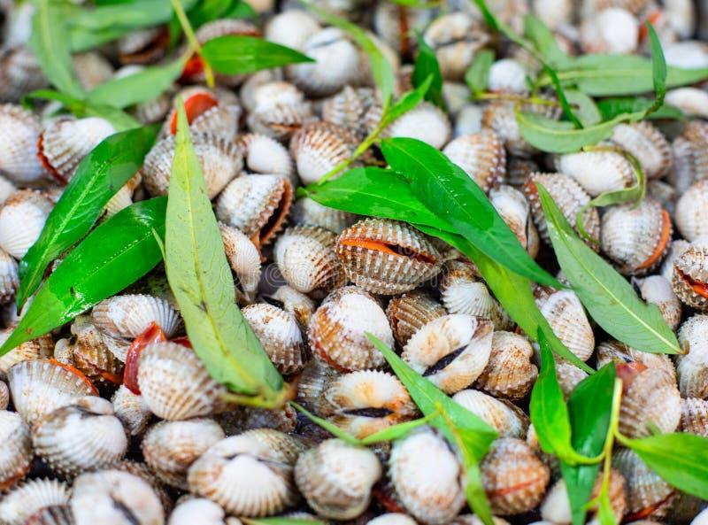 Straatmarkt met Vietnamese voedsel en cousine Stapel van mosselen, hoogste mening royalty-vrije stock foto