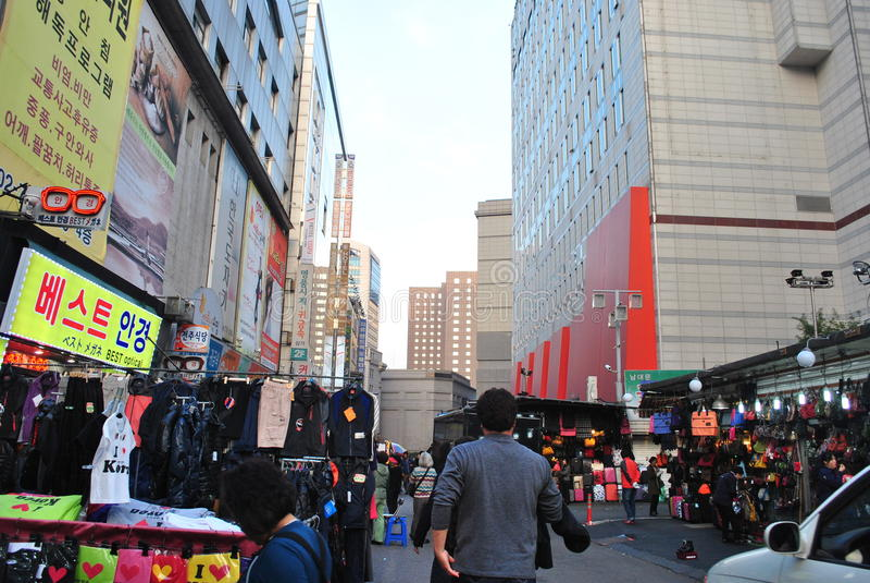 Straatmarkt in Seoel stock foto's