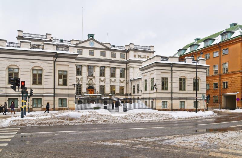 Straatmening aan het inbouwen van de winter Stockholm royalty-vrije stock foto