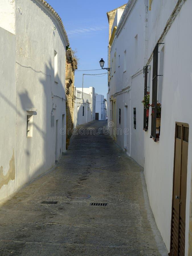 Straatmening in Arcos de la Frontera, Spanje royalty-vrije stock fotografie