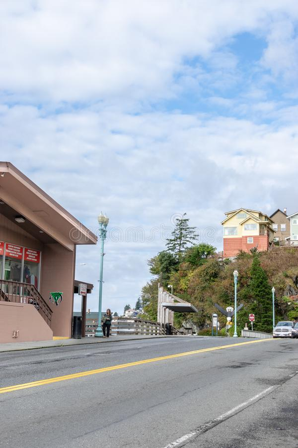 Straatmening in Ketchikan van de binnenstad Alaska royalty-vrije stock fotografie