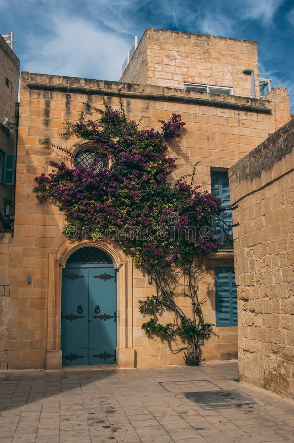 Straatmening in Mdina, Malta stock foto's
