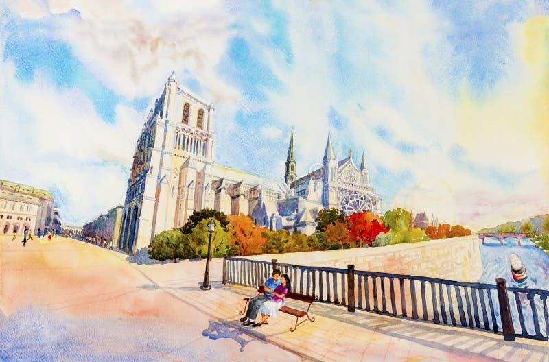 Straatmening, Notre Dame, beroemd in Parijs Frankrijk stock illustratie