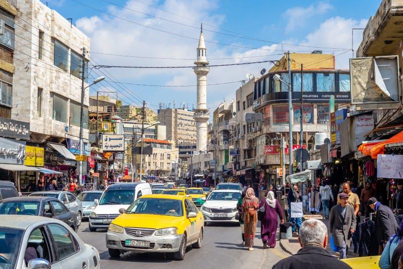 Straatmening van amman, de hoofdstad van Jordani stock foto