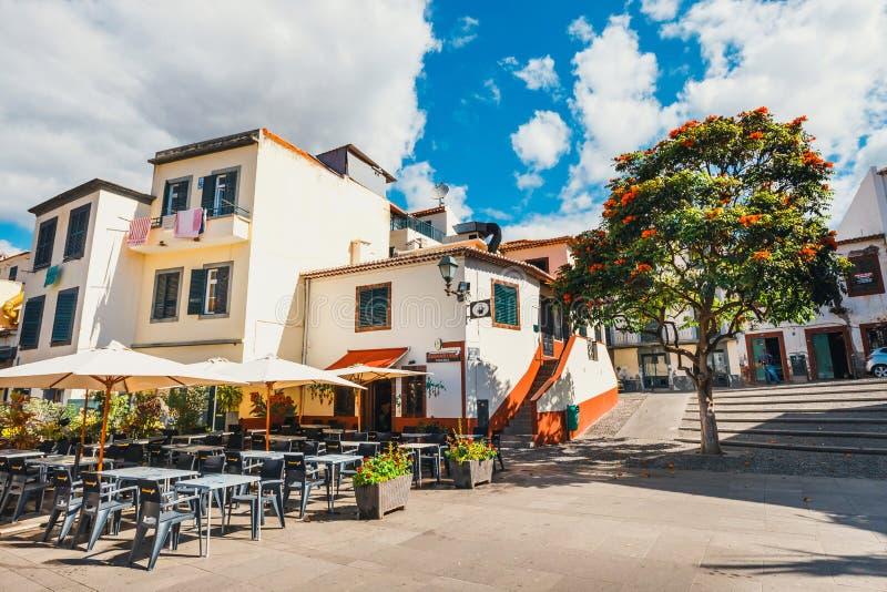 Straatmening van huizen in Santa Maria, Madera royalty-vrije stock afbeeldingen