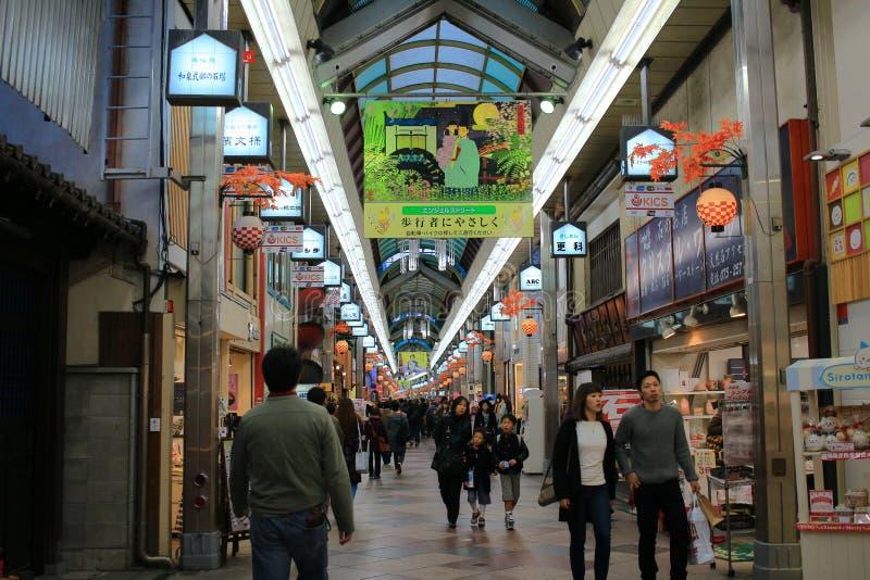 Straatmening van Shijo Dori, Kawaramachi stock afbeelding