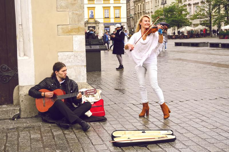 Straatmusici in Krakau royalty-vrije stock foto