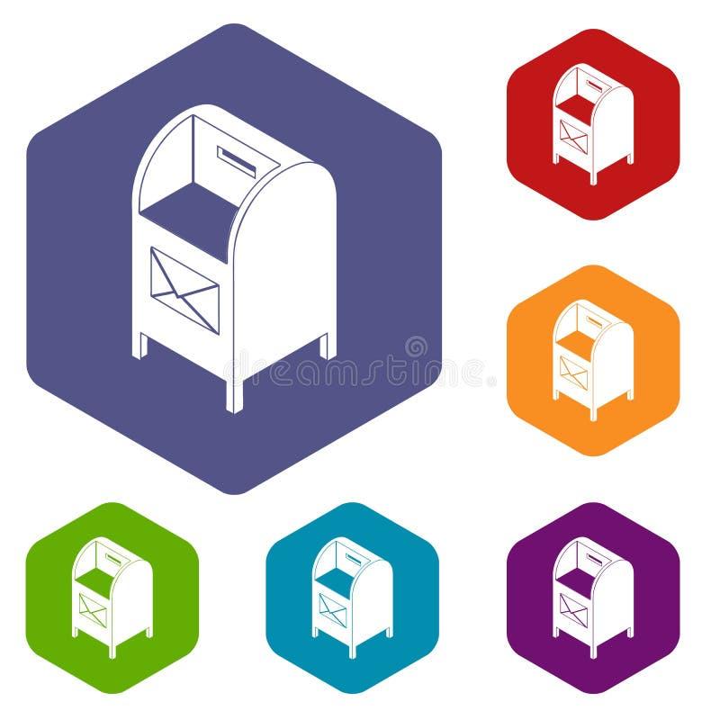 Straatpostbox pictogrammenvector hexahedron royalty-vrije illustratie
