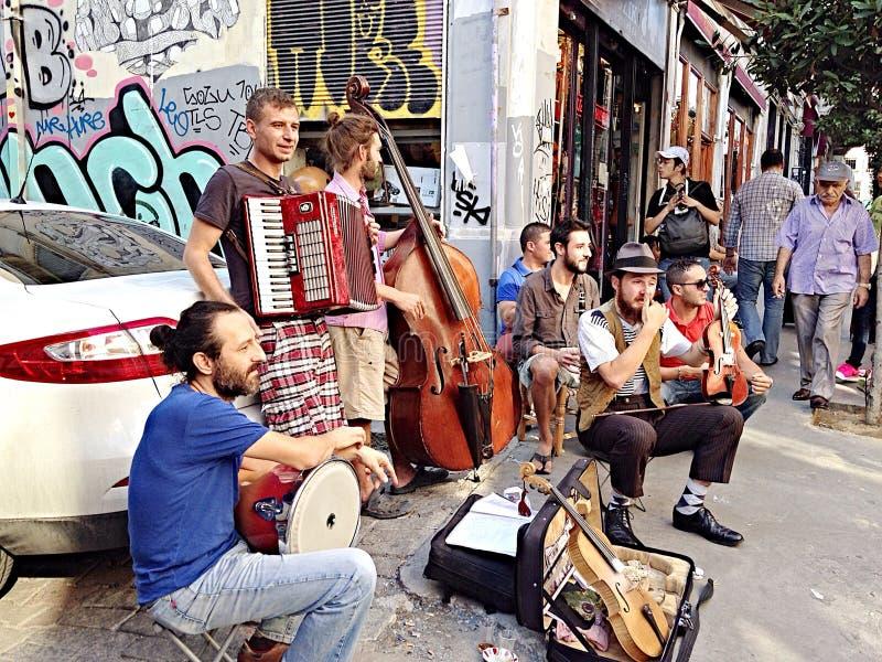 Straatprestaties in Taksim-Vierkant stock foto