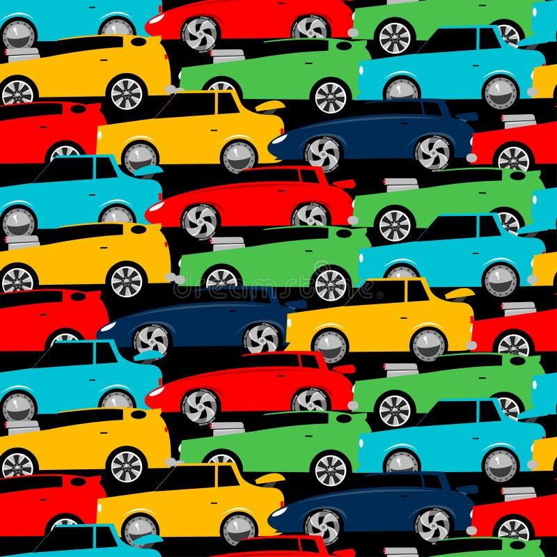 Straatraceauto's in een naadloos patroon worden gestapeld dat vector illustratie