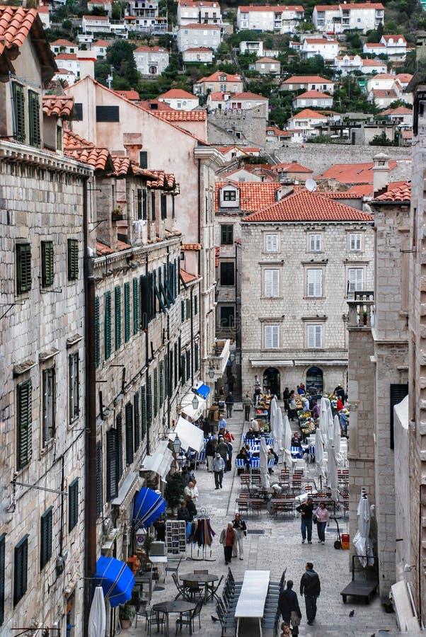 Straatrestaurant in Dubrovnik stock fotografie