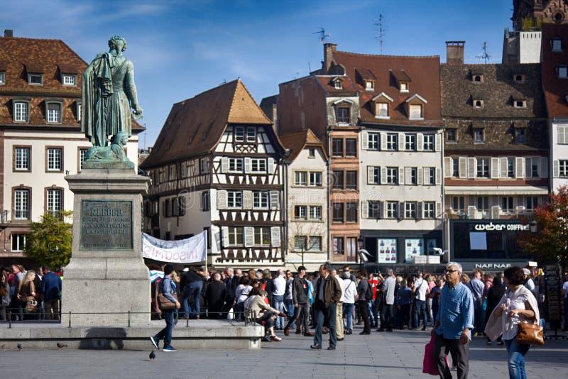 Straatsburg, Frankrijk, Actie voor goedkope huisvesting stock foto