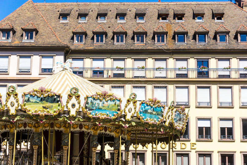 STRAATSBURG, FRANKRIJK - Augustus 23: Straatmening van Traditionele hous stock afbeelding